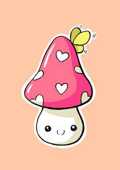 Kawaii mushroom #Kawaii #Draw #Illustration