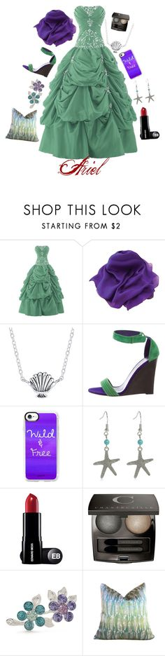 """Ariel / Gown"" by bebewetic ❤ liked on Polyvore featuring Disney, CÉLINE, Casetify, Chantecaille and Napier"