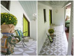 Front Proch Makeover via Bella Tucker | Endless Moorish Circles Moroccan Stencil
