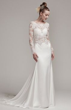 Illusion Sheath Wedding Dress  with Natural Waist in Silk. Bridal Gown Style Number:33451949