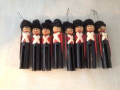 Vintage Handmade Christmas Clothespin Soldiers by TallgrassHD