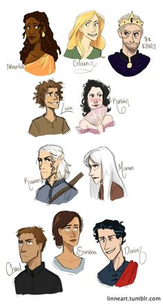 [I see Mirael and Saya in the third row omg X'D] Throne of Glass Characters by compoundbreadd on deviantART