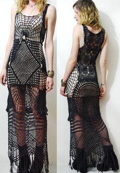 CROCHET DRESS Black Cobweb SPIDERWEB Lace Cotton Long Fringe Vintage vtg Bohemian Gypsy Goth Handmade ooak xs s m