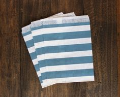 Navy Blue Striped Treat Paper Bags  packaging by BoxandBowsupply, $3.00