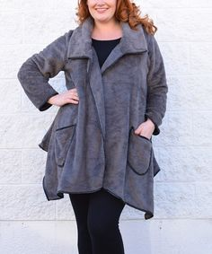 Another great find on #zulily! Gray Fleece Coat - Plus by Simply Couture #zulilyfinds