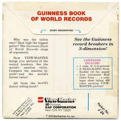 Vintage GUINNESS BOOK of WORLD RECORDS VIEW-MASTER REELS (1978) 3 ...
