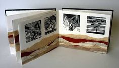 Woomera: Not So Black and White by Lindy Yeates. Lino prints, ink, pencil, sandpaper and transparency on paper. Concertina book in archival box.