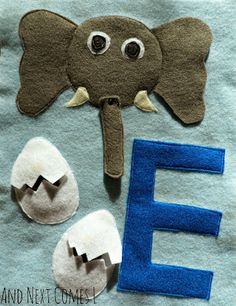 E is for Elephant and Eggs (Letter E Quiet Book Page) from And Next Comes L