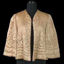 Vintage 50s 60s Lingerie BED JACKET Champagne Gold Quilted Satin Mid-Mod Dolly