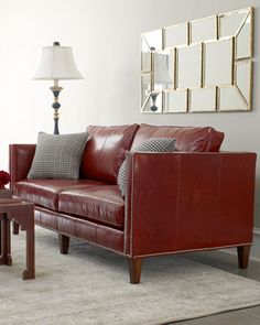 Crimson Leather Sofa by Massoud at Horchow.