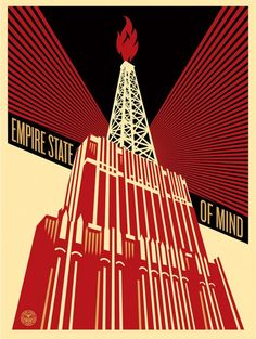 """Empire State Of Mind by Shepard Fairey. """"This Empire State of Mind print is about the volatility of giving an industry with too much power the ability to manipulate politics in its favor despite the dangers to the environment and climate change. Shepard Fairey Prints, Shepard Fairey Obey, Diego Rivera, Andy Warhol, Alexandre Rodtchenko, Russian Constructivism, Propaganda Art, Empire State Of Mind, Print Release"""