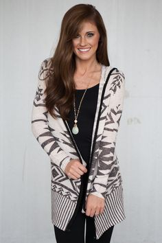 Magnolia Boutique Indianapolis - Hooded Tribal Print Open Cardigan - Beige, $39.00 (http://www.indiefashionboutique.com/hooded-tribal-print-open-cardigan-beige/)