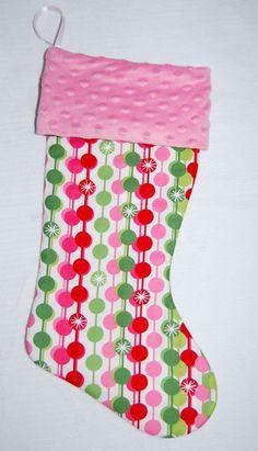 Candy Cane Dots Christmas Stocking- Cyndiloo Boutique. $20.00, via Etsy.