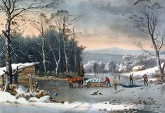 Large Country Scene Paintings | Country Painting by Currier and Ives - Winter In The Country Fine Art ...