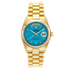 "ROLEX Yellow Gold Day-Date with Blue ""Stella"" Dial 