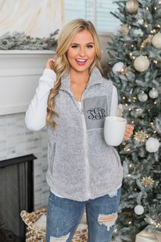 There are so many outerwear styles, it's hard to choose just one. Shop trendy boutique jackets at Pink Lily to find the cutest styles for every season! Vest Outfits, Cute Outfits, Monogram Vest, Beautiful Blonde Girl, Autumn Winter Fashion, Fall Fashion, Stylish Tops, Pink Lily, Online Boutiques