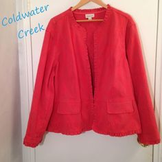 Coldwater Creek Jacquard Ruffled Hem Jacket Coldwater Creek Jacquard Ruffled Hem Jacket in dark pink in size 3X or 22/24. In great condition, worn only twice. Final Price, unless bundled!! #plussize Coldwater Creek Jackets & Coats Blazers