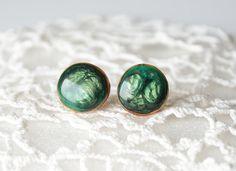 Dark green earrings round earring studs wooden by MyPieceOfWood, $18.00