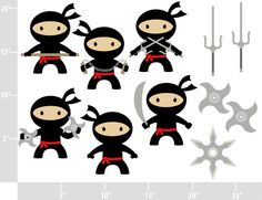 Ninjas - BUY 2 GET 2 FREE - Digital Clip Art - Personal and Commercial Use - tai kwon do boys karate nunchuks. $4.75, via Etsy.