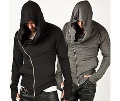 Unbeatable Arm Warmer Diagonal Zip Mens Assassin Creed Hoodie (Black)