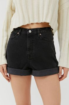 Shop BDG High-Waisted Mom Short – Washed Black at Urban Outfitters today. We carry all the latest styles, colors and brands for you to choose from right here. Black Denim Shorts Outfit, Cheap Denim Shorts, Summer Shorts Outfits, Black High Waisted Shorts, Mom Jeans Shorts, Black Jean Shorts, Women's Shorts, Dressy Outfits, Work Outfits