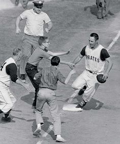 The Pittsburgh Pirates beat the New York Yankees in Game 7 of the World Series on 13 October 1960