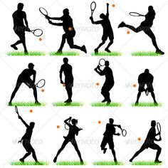 Tennis Silhouettes Set  #GraphicRiver         Set of 12 silhouettes of tennis players. Can be used for decoration of the tennis clubs.     Created: 7September11 GraphicsFilesIncluded: JPGImage #VectorEPS Layered: No MinimumAdobeCSVersion: CS Tags: ace #action #active #athlete #ball #body #collection #game #match #men #motion #open #player #professional #racket #recreation #run #serve #service #set #shot #silhouette #single #smash #sport #tennis #tournament #vector #wimbledon