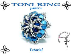 TONI RING pattern tutorial with crescent and pinch beads by PearlyBeadDesign on Etsy