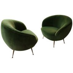 1950s Italian Armchairs, Pair, Reupholstered in Green Velours