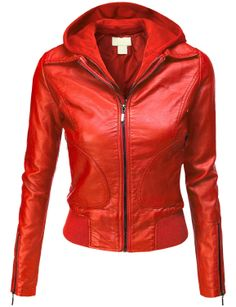 Doublju Women's Double Layered Hooded Faux Leather Jacket           ($24.99) http://www.amazon.com/exec/obidos/ASIN/B00FTBQP90/hpb2-20/ASIN/B00FTBQP90