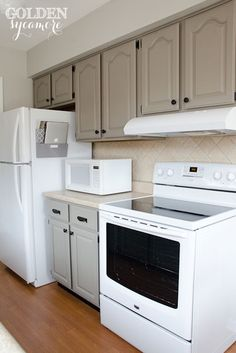Kitchens With White Appliances painting oak cabinets white and gray | cabinet paint colors