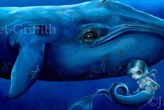 """We're very pleased to present """"Big Blue Whale"""" from artist Jasmine Becket-Griffith - direct from the artist (and her sister, hehe). Description from etsy.com. I searched for this on bing.com/images"""