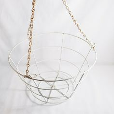 for plants -- vintage white wire hanging basket by deEpoca on Etsy