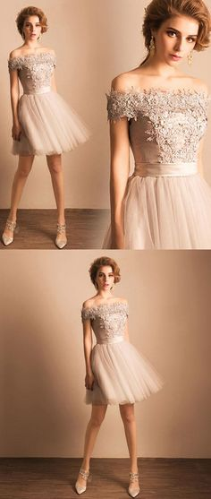 Cute gray lace tulle short prom dress, homecoming dress