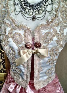 tea stained beaded alencon lace wedding shrug by mermaid miss k.