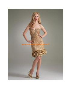 Boutique robe sans bretelle or mini cristaux taffetas robe de soirée 2013