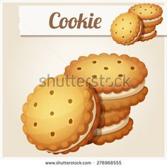 Cookie with white cream. Detailed vector icon. Series of food and drink and ingredients for cooking.