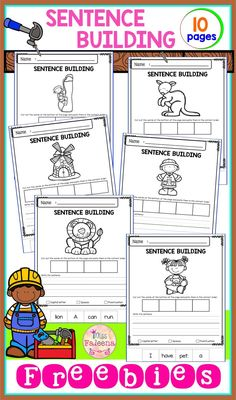 Free Sentence Building. There are 10 pages of sentence building worksheets in this product. These pages are great for pre-K, kindergarten and first grade students. These pages will teach children to read, write and build sentences. Children are encouraged to use thinking skills while improving their comprehension and writing skills. Preschool | Kindergarten | Kindergarten Worksheets | First Grade | First Grade | Reading| Writing | Sentence building | Free Sentence Building | Morning Work