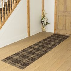 tartan brown hallway runner