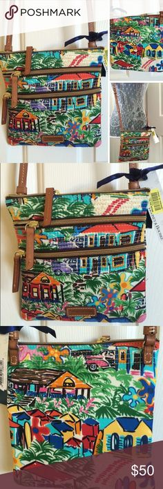 Dooney & Bourke cross-body purse. BrandNew w/tags. Fun, colorful nylon print with brown leather adjustable strap. Three zip compartments, all with leather pull straps. Red lining. Interior key holder strap. Dooney & Bourke Bags Crossbody Bags