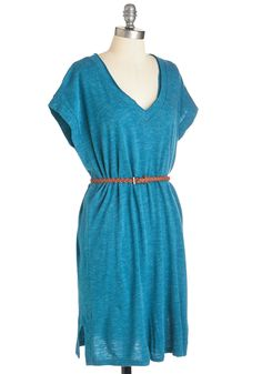 Here I Comfy! Dress. Youre on your way - and stylishly so in this heather-blue shift dress, which arrives in March! #blue #modcloth
