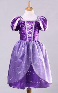Meninas Rapunzel Fantasia Traje Vestido Crianças Roupa Da Princesa Vestido de Cosplay Para A Menina Tangled Princesa Vestido Vestido de Tule Roxo