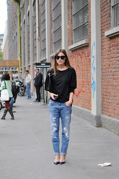 boyfriend jeans and valentino rock stud shoes