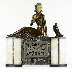 Rare French Art Deco lady bird sculpture mantel clock by MOLINS BALLESTE 1920s #ArtDeco #MOLINSBALLESTE