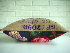 Decorative PIllow Cover Throw Lumbar Industrial Bohemian Chic Farmhouse Repurposed Burlap Coffee Sack Feminine Floral Print Purple 16x20. $48.00, via Etsy.