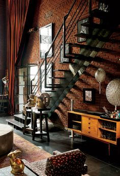 34 Nice Industrial Loft Decor Ideas For Your Interior Design - Loft living has become the home of choice for all kinds of people from young business professionals to middle-aged empty nesters to older retired coup. Design Industrial, Industrial House, Industrial Interiors, Industrial Style, Industrial Stairs, Industrial Restaurant, Industrial Lighting, Vintage Industrial, Industrial Bedroom