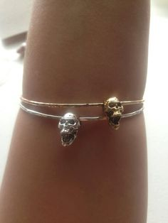 14k Gold Fill Bangle with Skull Charm