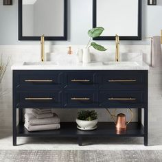 You are able to achieve High Style without a sky-high budget in just about any bathroom. Oahu is the little items that count... #dreamBathroom Vanity Cabinet, Vanity Set, Vanity Ideas, Blue Vanity, Vanity Basin, Wood Vanity, Navy Blue Bathrooms, Beige Bathroom, Brass Bathroom