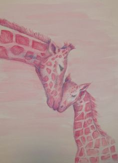 Hey, I found this really awesome Etsy listing at https://www.etsy.com/listing/109360362/colored-pencil-watercolor-pink-giraffes