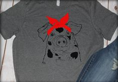 4dadab30 Bandana Pig tee shirt, farm life, western, Bella Canvas shirt, fourth of  July, farm girl, barn life, country living, cowgirl, piggies